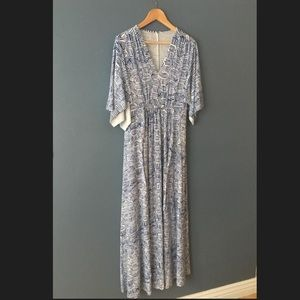 Blue Patterned Kimono Maxi Dress